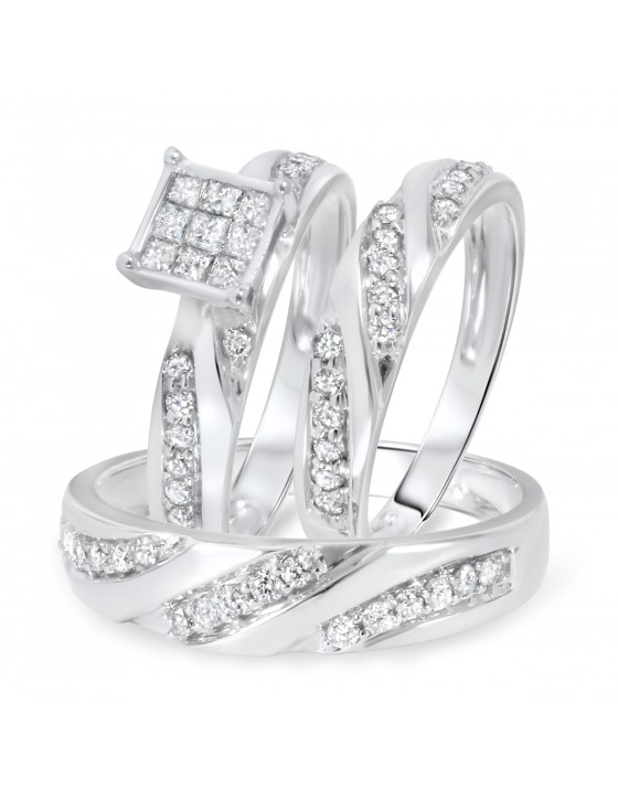 1 Carat Diamond Trio Wedding Ring Set 10K White Gold