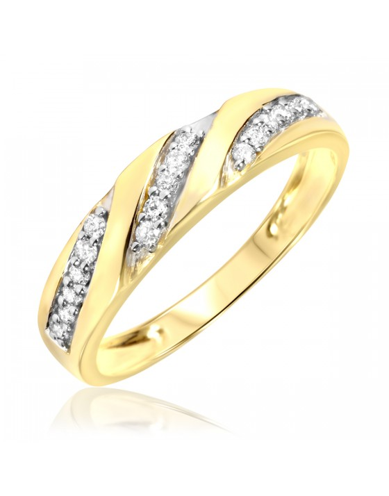 1/4 Carat T.W. Diamond Men's Wedding Ring 10K Yellow Gold