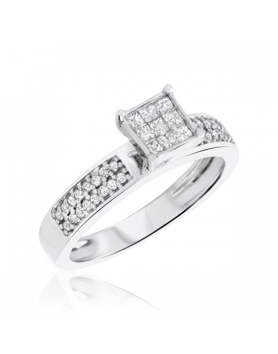 1/2 CT. T.W. Diamond Ladies' Engagement Ring 10K White Gold