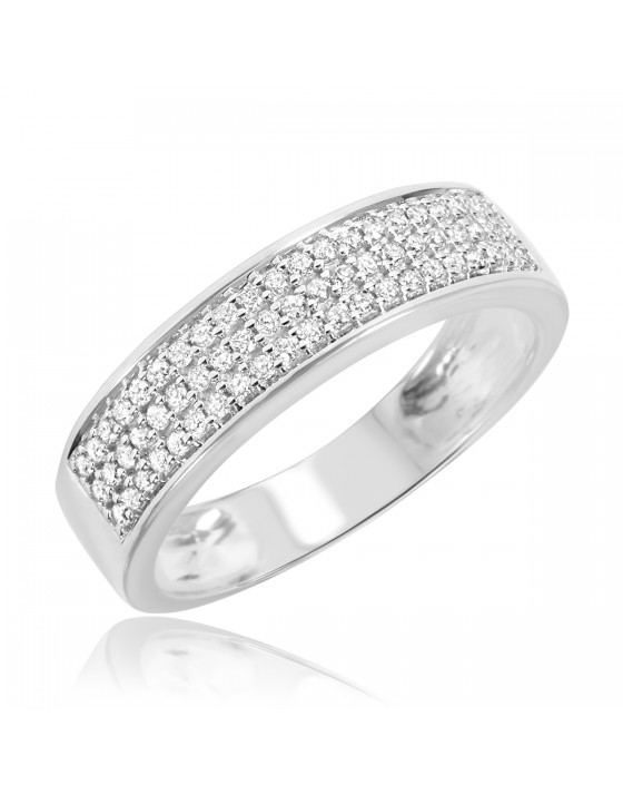 1/4 CT. T.W. Diamond Men's Wedding Band 14K White Gold