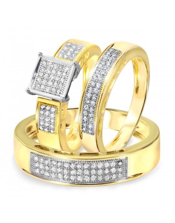 3/8 Carat Diamond Trio Wedding Ring Set 10K Yellow Gold