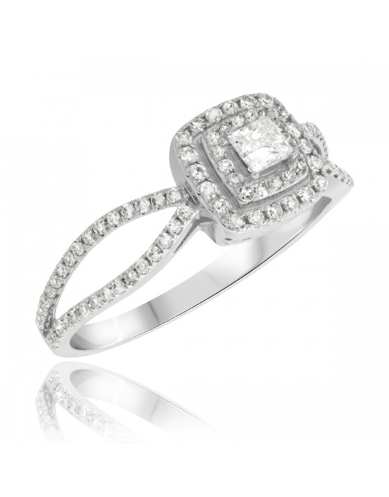 3/4 Carat T.W. Diamond Engagement Ring 10K White Gold