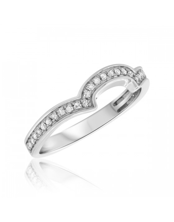 1/4 CT. T.W. Diamond Ladies Wedding Band 10K White Gold