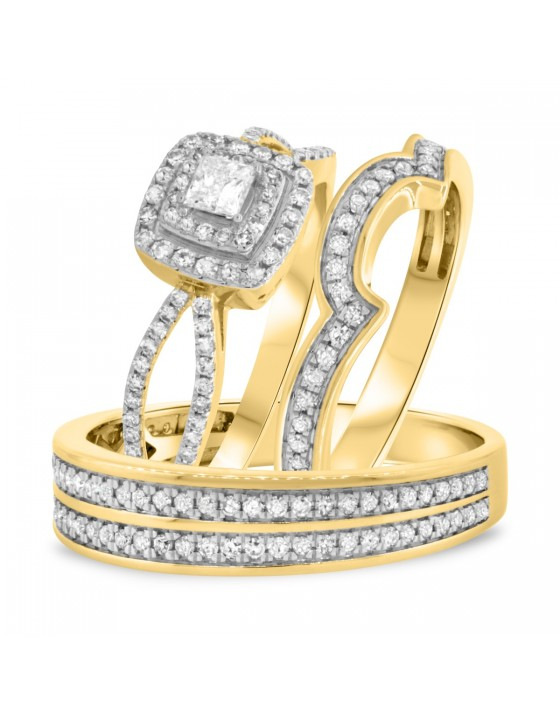 1 1/2 Carat T.W. Diamond Trio Matching Wedding Ring Set 14K Yellow Gold