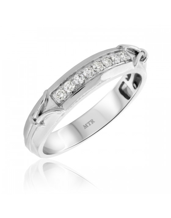 1/4 Carat T.W. Diamond Mens Wedding Band 10K White Gold
