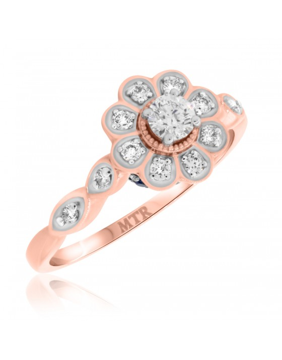 3/8 Carat T.W. Diamond and Sapphire Engagement Ring 14K Rose Gold