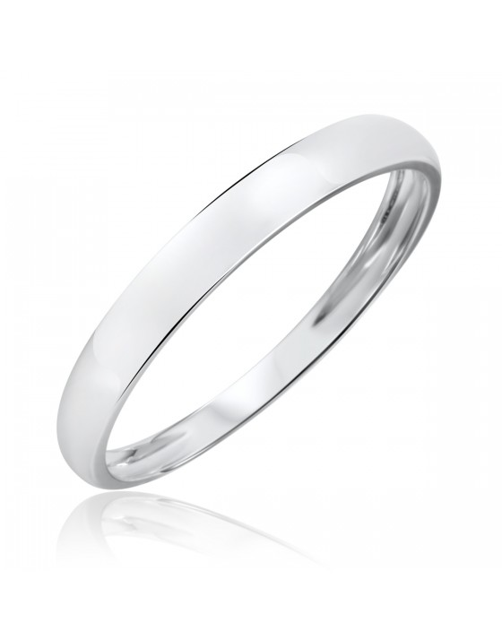 Men's Wedding Band 14K White Gold