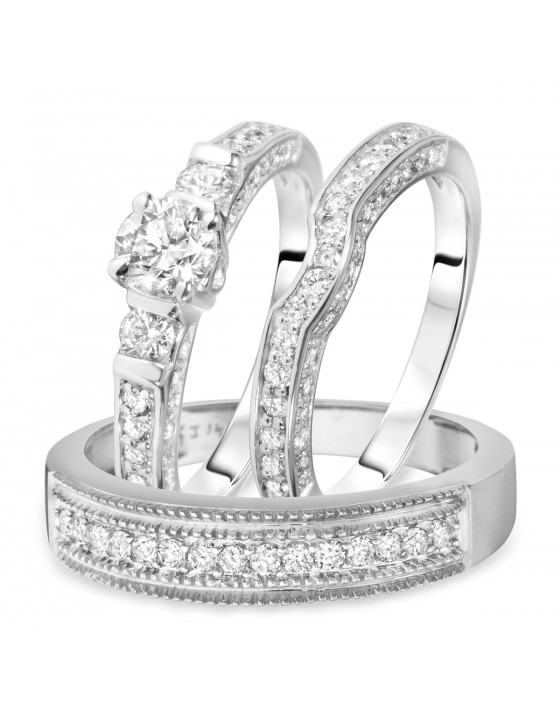 1 3/8 Carat T.W. Round Cut Diamond Matching Trio Wedding Ring Set 14K White Gold