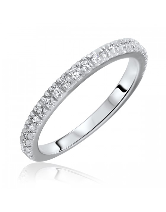 1/4 Carat T.W. Round Cut Diamond Ladies Wedding Band 14K White Gold