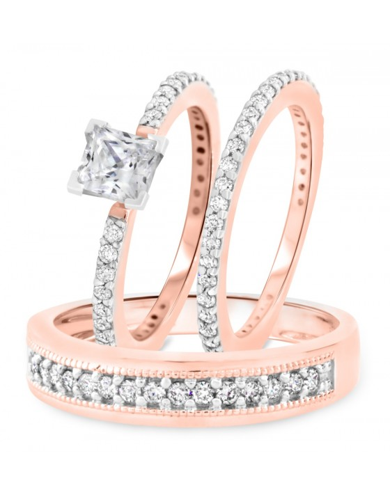 1 7/8 CT. T.W. Diamond Ladies Engagement Ring, Wedding Band, Men's Wedding Band Matching Set 14K Rose Gold