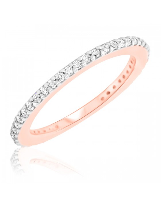3/8 Carat T.W. Round Cut Diamond Ladies Wedding Band 14K Rose Gold