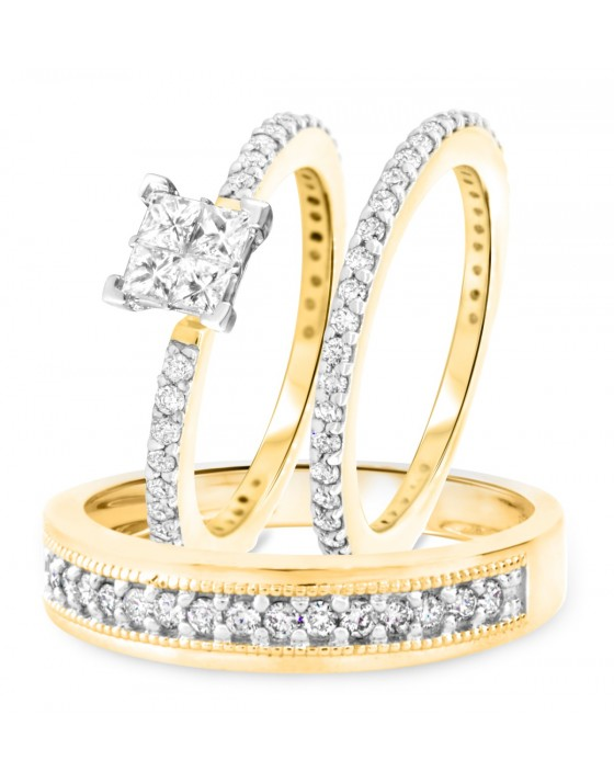 1 1/2 CT. T.W. Diamond Ladies Engagement Ring, Wedding Band, Men's Wedding Band Matching Set 10K Yellow Gold