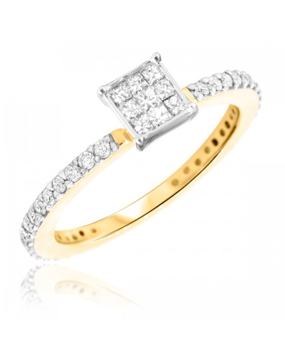 1/2 CT. T.W. Diamond Ladies Engagement Ring 14K Yellow Gold