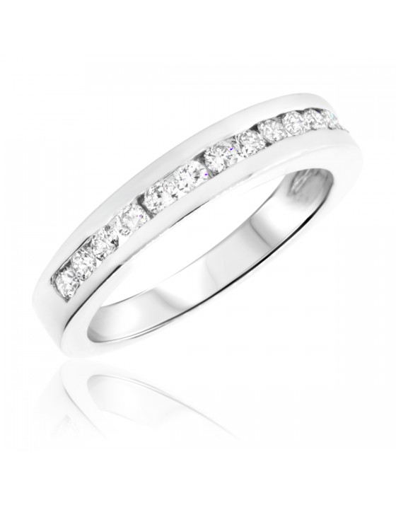 1/2 Carat T.W. Round Cut Diamond Ladies Wedding Band 14K White Gold