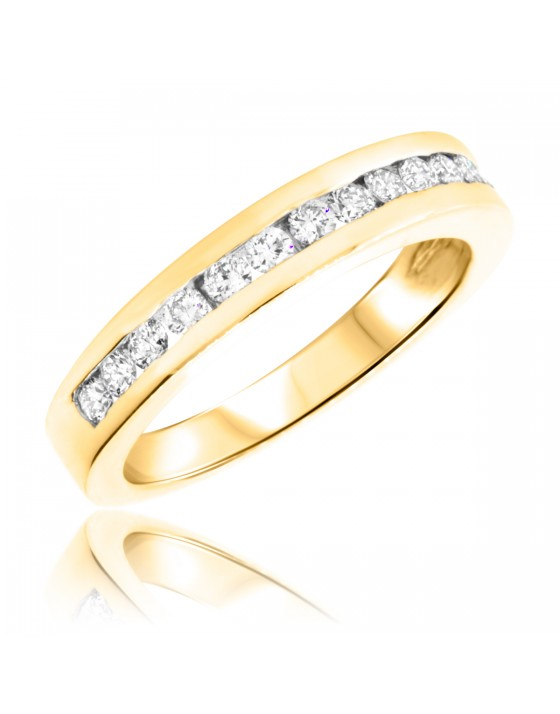 1/2 Carat T.W. Round Cut Diamond Ladies Wedding Band 10K Yellow Gold