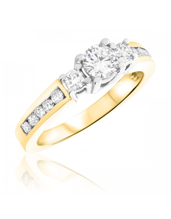 3/4 Carat T.W. Round Cut Diamond Ladies Engagement Ring 14K Yellow Gold