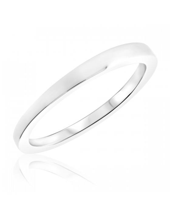 Traditional Ladies Wedding Band 14K White Gold