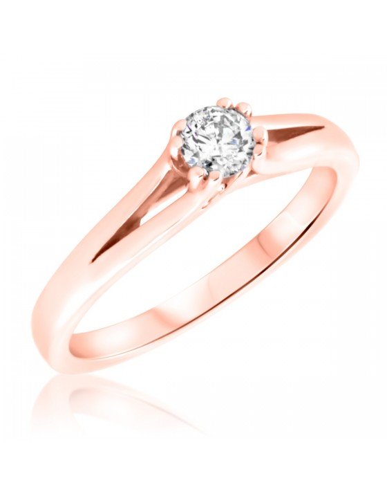 1/4 Carat T.W. Round Cut Diamond Ladies Engagement Ring 14K Rose Gold