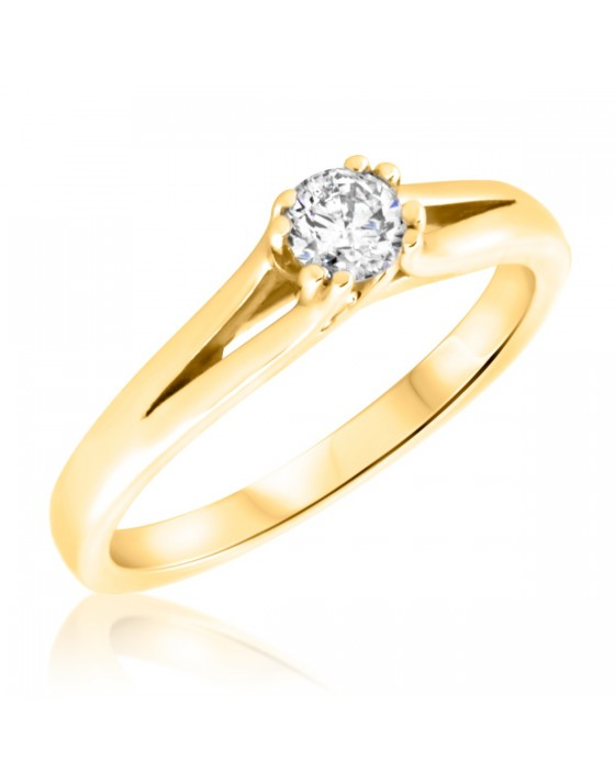 1/4 Carat T.W. Round Cut Diamond Ladies Engagement Ring 14K Yellow Gold