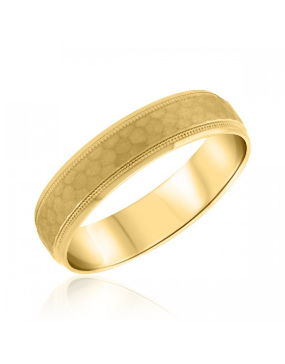 Traditional Mens Wedding Band 10K Yellow Gold