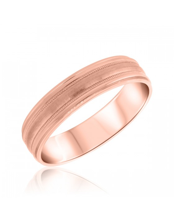 Traditional Mens Wedding Band  10K Rose Gold