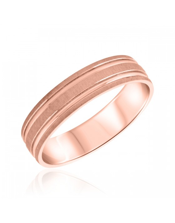 Traditional Mens Wedding Band 14K Rose Gold