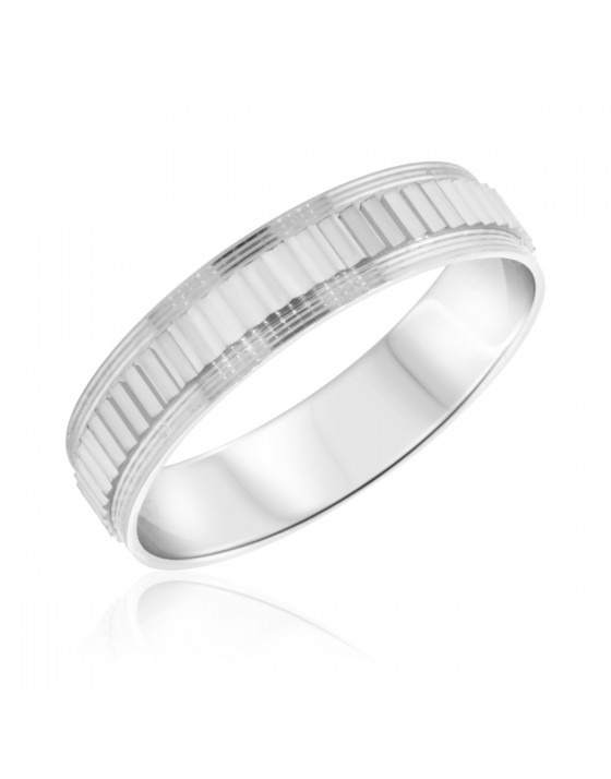 Traditional Mens Wedding Band  10K White Gold