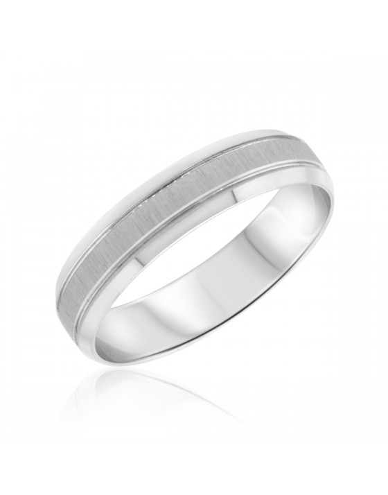 Traditional Mens Wedding Band 14K White Gold