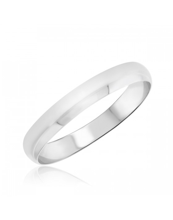 Comfort Fit Ladies Wedding Band 10K White Gold