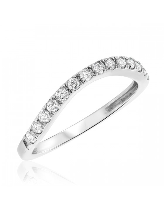 1/3 CT. T.W. Diamond Ladies Wedding Band 14K White Gold