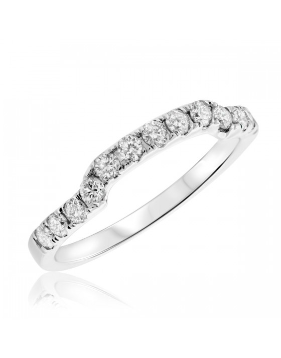 1/2 Carat T.W. Diamond Ladies Wedding Band 14K White Gold