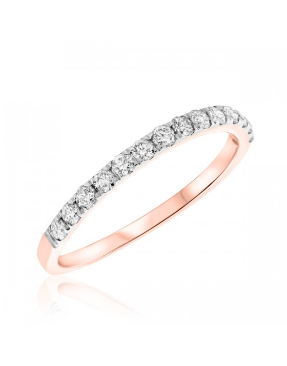 3/8 CT. T.W. Diamond Ladies Wedding Band  10K Rose Gold