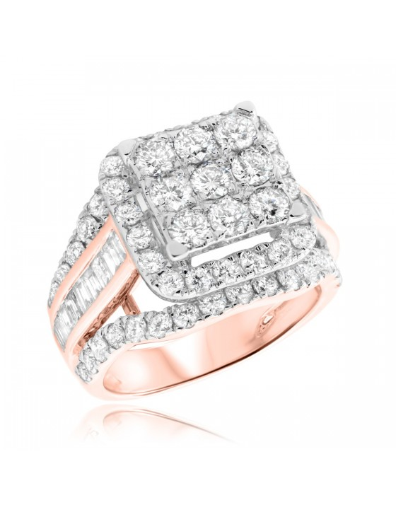 3 1/3 Carat T.W. Diamond Engagement Ring 14K Rose Gold