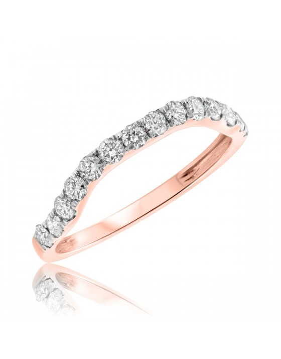 2/3 Carat T.W. Diamond Ladies Wedding Band 14K Rose Gold