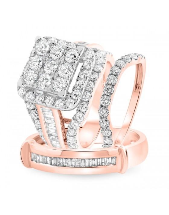 4 1/4 Carat T.W. Diamond Trio Matching Wedding Ring Set 14K Rose Gold
