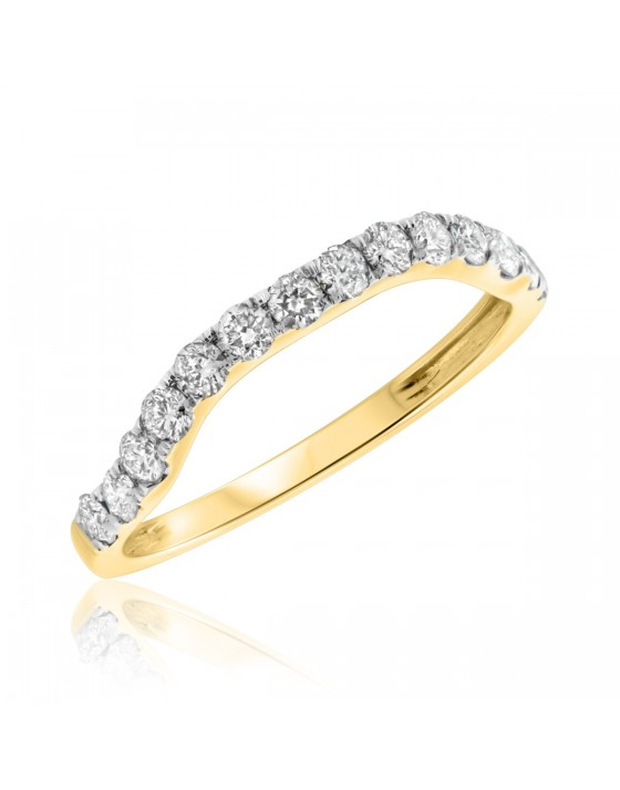 1/2 Carat T.W. Diamond Ladies Wedding Band 10K Yellow Gold