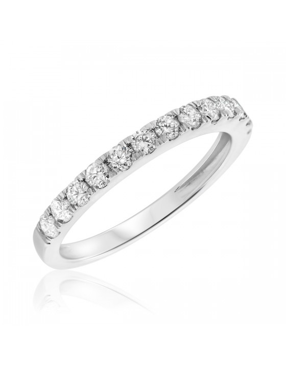 1/2 CT. T.W. Diamond Ladies Wedding Band 14K White Gold