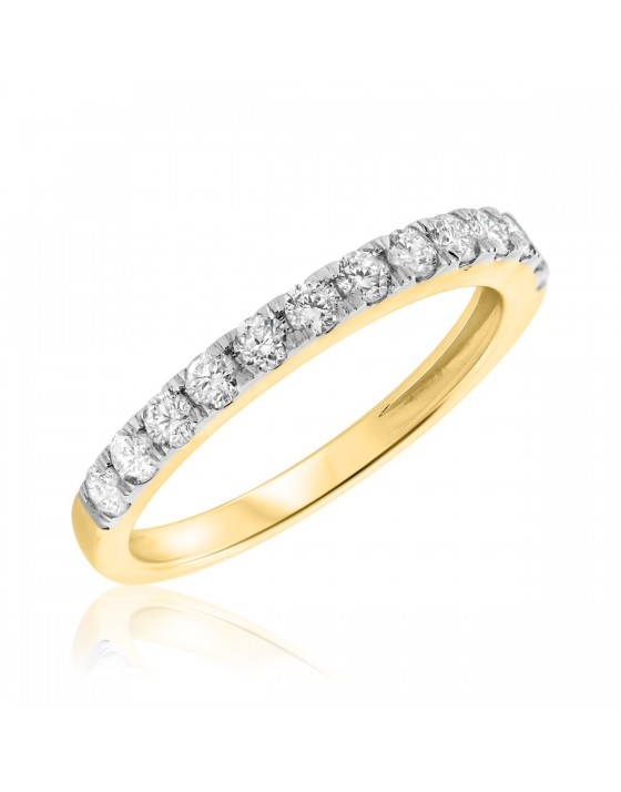 1/2 CT. T.W. Diamond Ladies Wedding Band 10K Yellow Gold