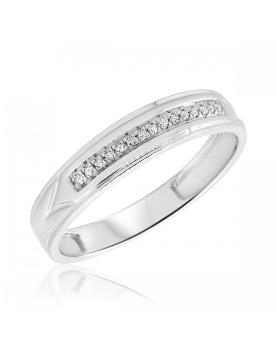 1/15 CT. T.W. Diamond Ladies Wedding Band 14K White Gold