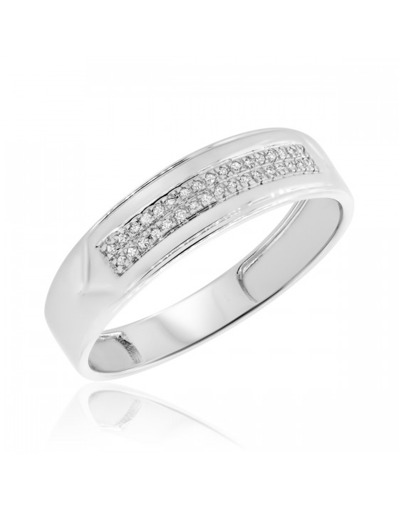 1/15 Carat T.W. Diamond Mens Wedding Band 14K White Gold