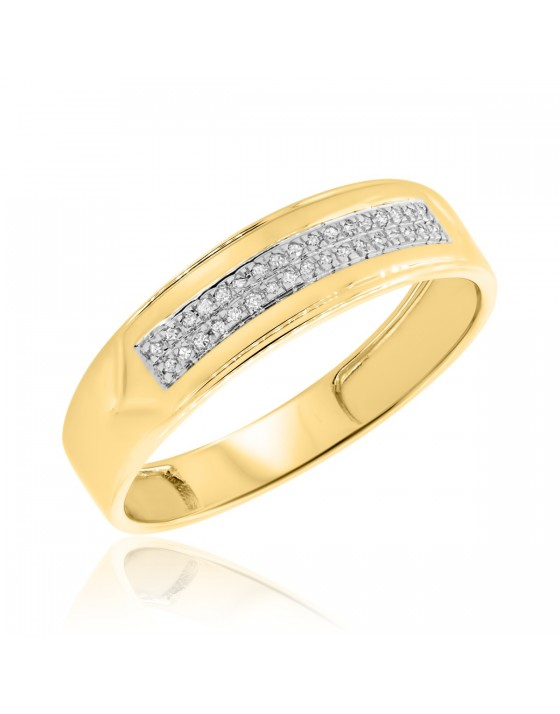 1/15 CT. T.W. Diamond Mens Wedding Band 14K Yellow Gold
