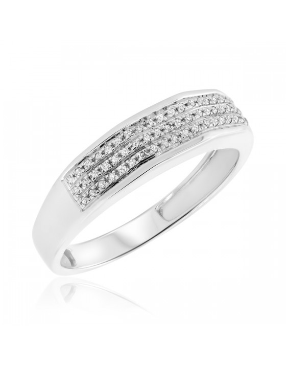 1/10 Carat T.W. Diamond Ladies Wedding Band 10K White Gold