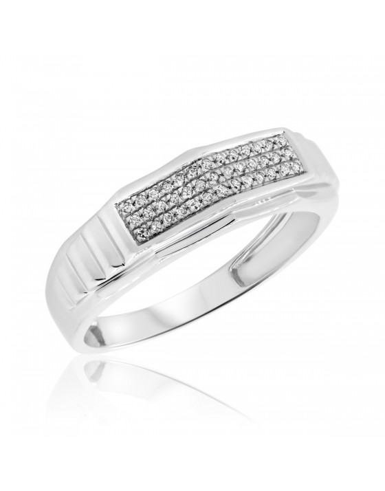 1/7 Carat T.W. Diamond Mens Wedding Band  10K White Gold