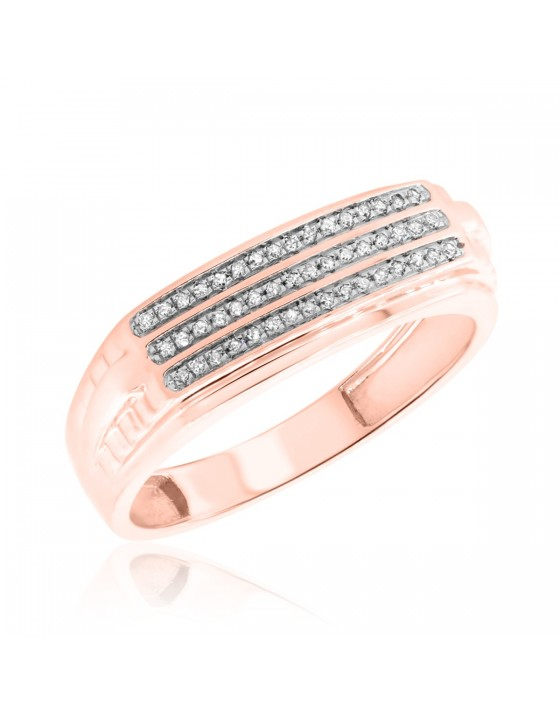 1/10 Carat T.W. Diamond Ladies Wedding Band  10K Rose Gold