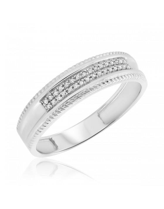1/10 CT. T.W. Diamond Mens Wedding Band 14K White Gold
