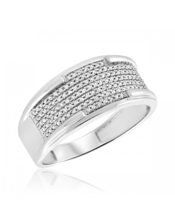 1/3 Carat T.W. Diamond Mens Wedding Band  10K White Gold