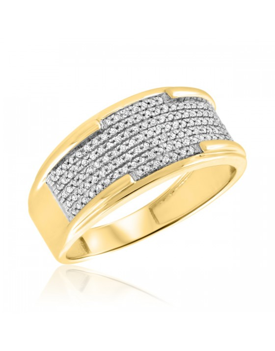 1/3 CT. T.W. Diamond Mens Wedding Band 10K Yellow Gold