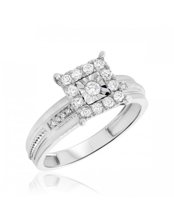 1/3 Carat T.W. Diamond Engagement Ring 10K White Gold