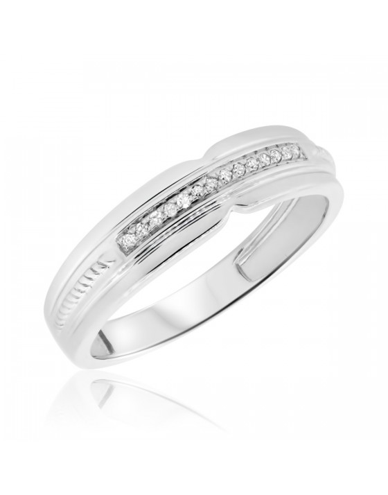 1/20 Carat T.W. Diamond Ladies Wedding Band  10K White Gold