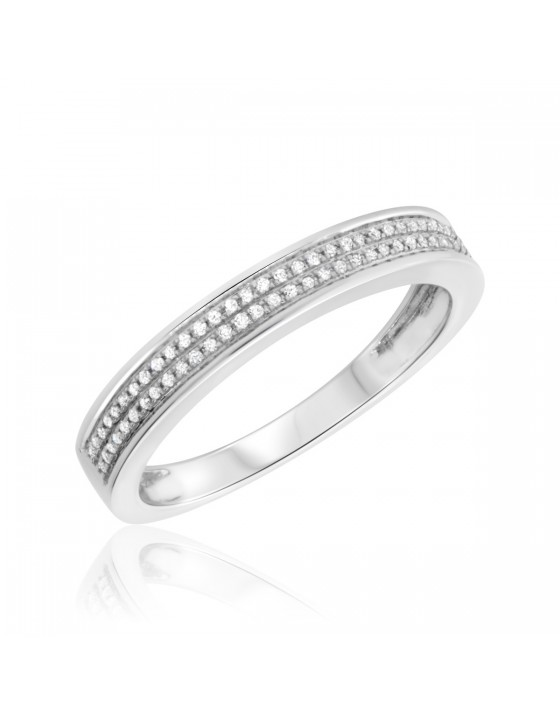 1/8 CT. T.W. Diamond Ladies Wedding Band 14K White Gold